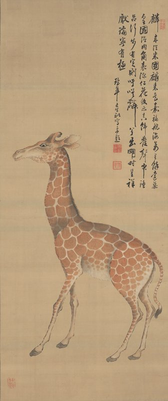 profile of a small giraffe facing L; inscription URQ
