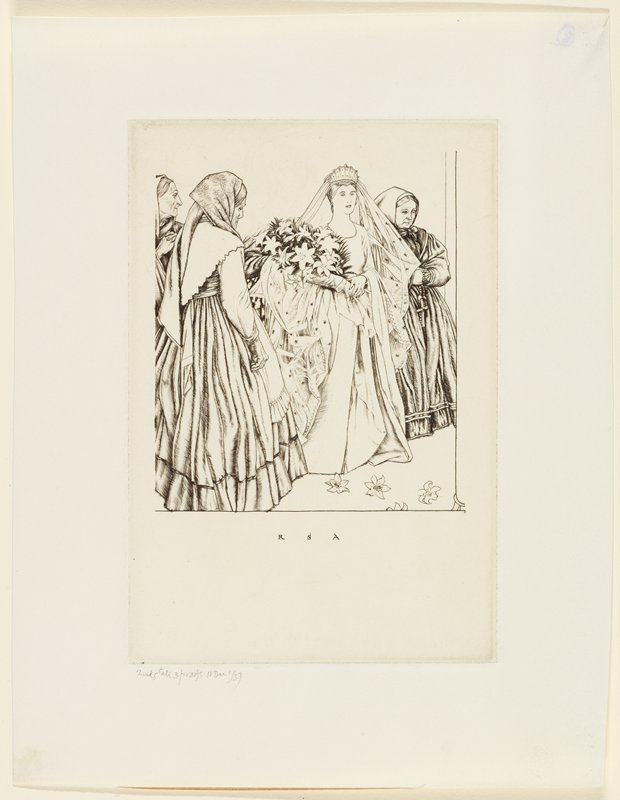 bridal scene: young woman in wedding dress and long veil with crown cradling large bundle of flowers in PR arm, followed by 4 older women in dresses with head scarves; lilies on the floor in front of her