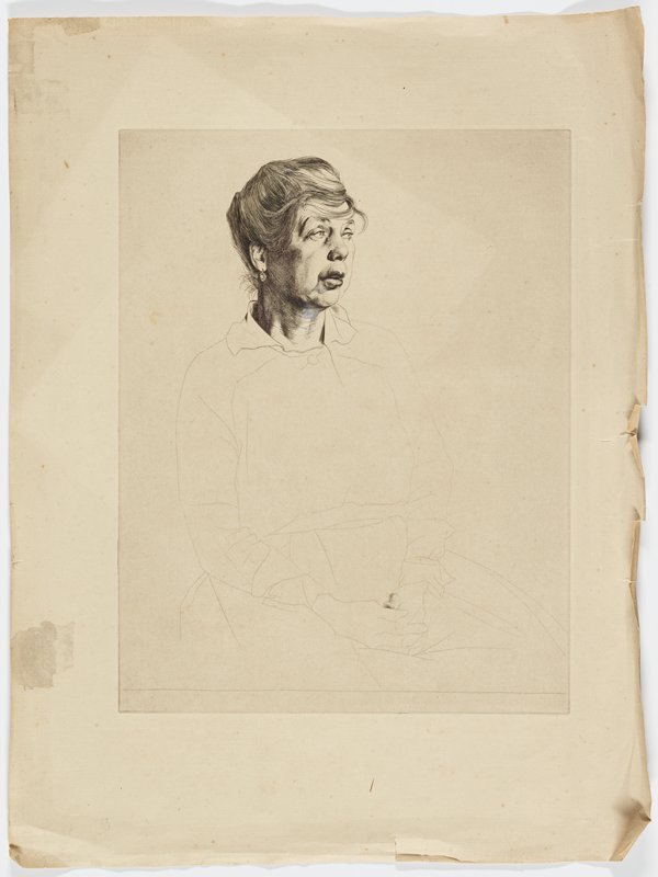 front 3/4 view of seated middle-aged woman with arms folded in lap; large, rounded facial features; wispy hair pulled up with sweeping bangs over forehead; body is only an outline, only thumb is shaded
