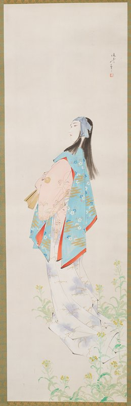 standing woman in profile from PL, wearing a kimono with white skirt with purple and gold cloud forms, pink blouse with gold floral forms and blue shawl with blue and white flowers; purple headband; gold fan; plants in URQ