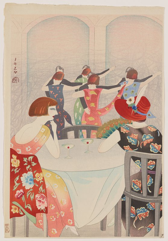 unsigned; two ladies wearing brightly-patterned dresses seated at a table in foreground; woman at right wears black dress with blue and brown leaf pattern and red hat with white feather and flowers and green and gold feathered fan; woman at left wears peach and yellow dress with white, yellow and blue flowers; red flowered garment on back of same woman's chair; four dancing couples in center middle ground