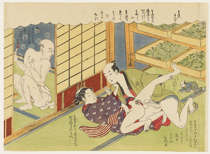 couple in foreground engaged in intercourse; man in green kimono pushes a woman in a purple kimono with white flowers and a red and white striped obi to the floor; tiny man in a blue kimono with white dots hiding beneath shallow baskets of leaves at right; seated older man wearing loincloth at right; text at top in cloud, to left of woman, in LRC and to left of tiny man