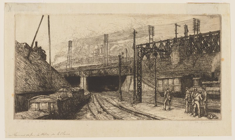 railyard with five standing men at right; train cars in LLQ and one car and engine behind men; power lines above; two tunnels with bridge over them left of center in middle ground; train engine on top of bluff in ULQ; tall building left of center in distance beyond bridge