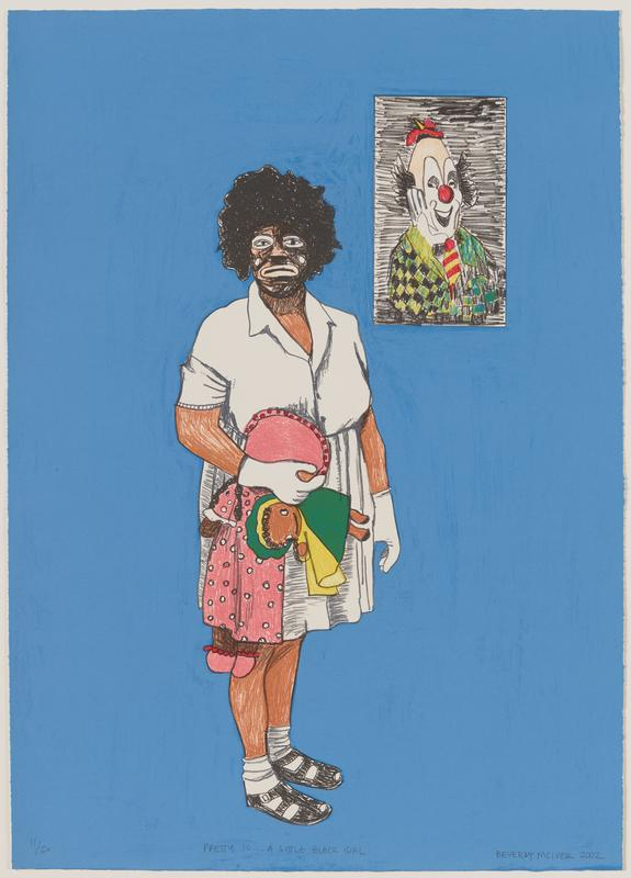 "slightly sketchy image of standing black girl with short bushy black hair wearing a white dress, white gloves and white socks with black sandals, holding two dolls; girl has exaggerated frowning ""black face"", with white around her eyes and mouth and white spot on each cheek; rectangular portrait of a clown with a tiny red hat, red clown nose, red and yellow striped tie and green and black checked jacket in URC; blue ground overall"