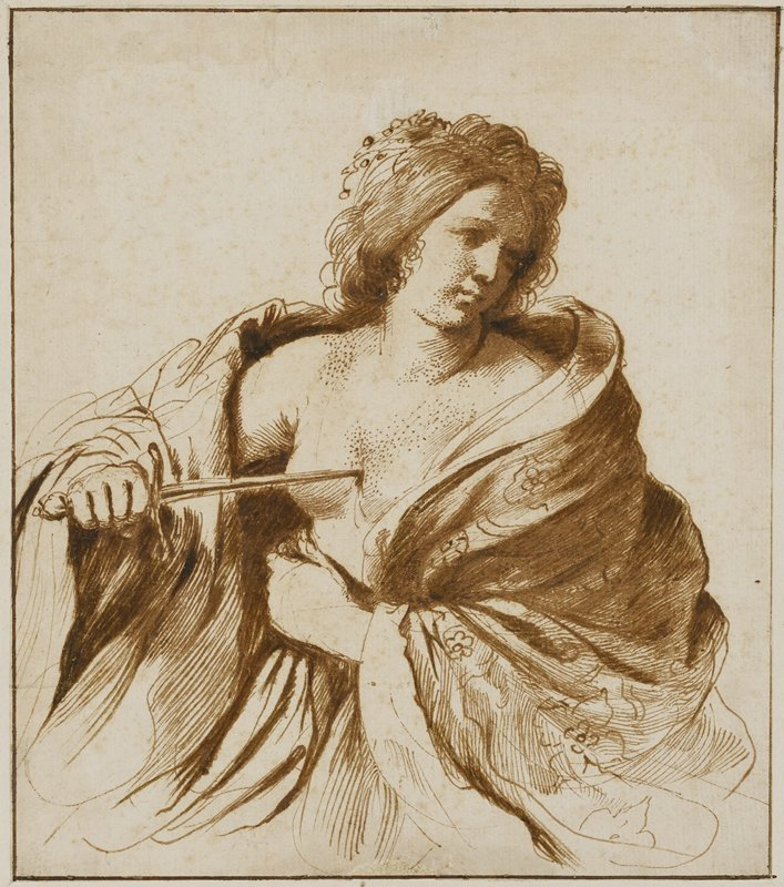 woman in 3/4 view with the front of her robe open and a dagger in her right hand pressed to her bare chest, looking away toward the right side of the picture plane