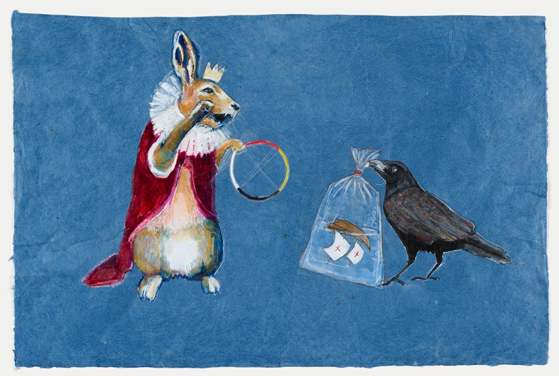 """blue, handmade paper ground; tan and white rabbit with blue and purple near mouth and ear stands on hind legs wearing yellow crown and red cloak with white collar; mouth is open and left paw holds multicolored hoop--red, yellow, black, white--faint white """"x"""" is drawn in center of hoop; rabbit looks down at black crow with flecks of color and silvery pigment on its wings and tail feather; crow holds plastic bag in beak containing a brown ship capsized in water; ship has two sails, both white with red crosses in middle; bubbles float inside bag at left and right; red tie at neck of bag; natual wood frame with Plexiglas"""