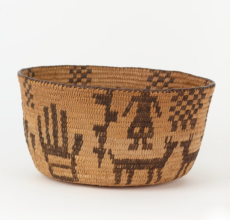 bowl-shaped basket with flat bottom and slightly outward-flaring, rather tall sides; light brown with dark brown quadrupeds, headless figure and hands