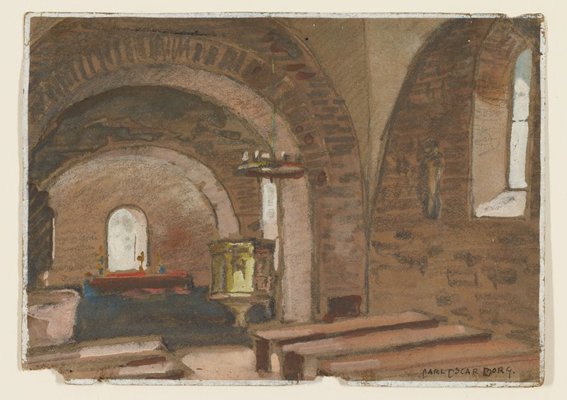 interior of brick church with view toward pulpit and altar at left; rows of benches; archways; deeply inset window with pointed top in URQ