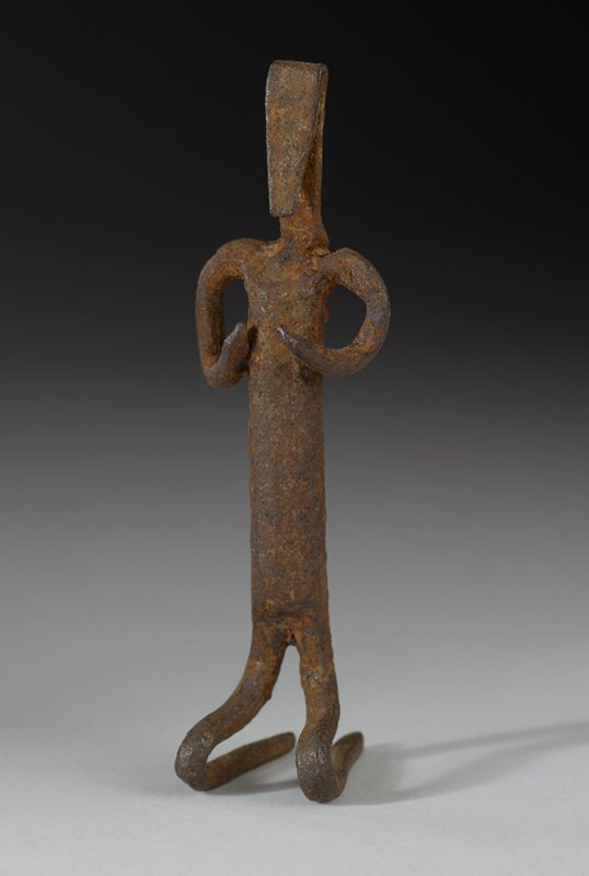 stylized figure with triangular head, kneeling