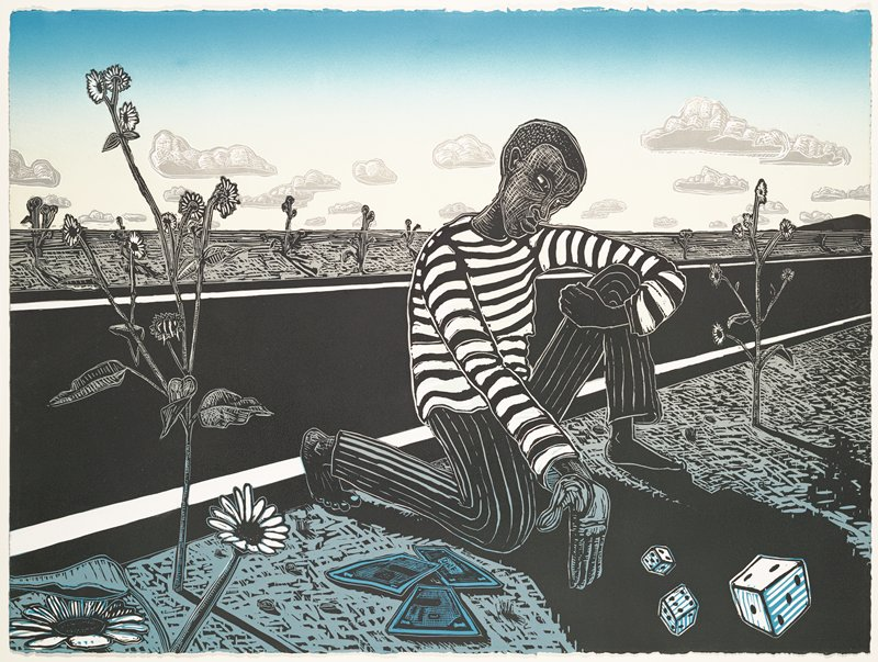 cartoonish image of barefoot dark-skinned young man wearing striped pants and shirt, kneeling on one knee beside a blacktop road, rolling three dice, with three blue dollar bills next to his PR knee; sunflowers and other plants growing on either side of road; sky shaded in blue at top fading to pale yellow at horizon line, with grey clouds