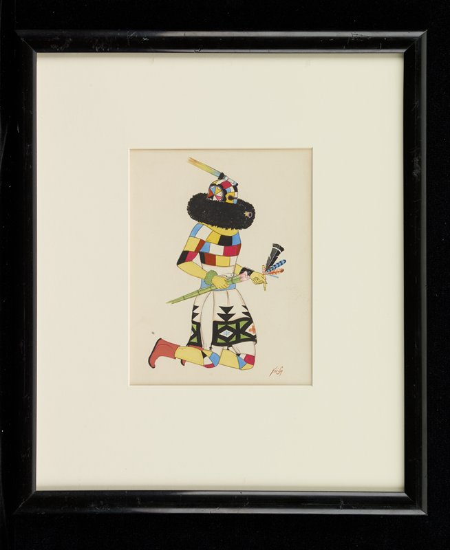 kneeling figures wearing an outfit and mask with multicolored blocks of color--multicolored star-shaped element on side of mask; mask has black material around bottom; figure holds a pipe (?) with four feathers in PL hand and green and pink plant stalk in PR hand; figure wears brown moccasin booties