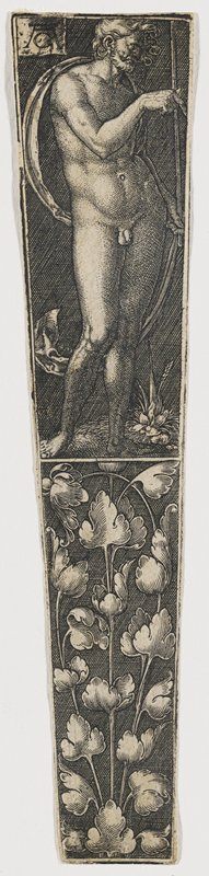 front 3/4 view of nude male figure with sash blowing around back; figure holds a spear vertically to the PL side of body; flower at PL foot; decorative foliate design bottom half