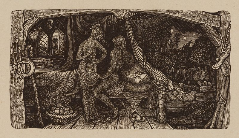 nude couple at a bed at center, one figure seated and the other standing; richly decorated, dark room; basket of fruit or yarn on the floor, sickle at L; at R, dark scene with sheep and crucifixes in URC; whole image is framed by arched beams
