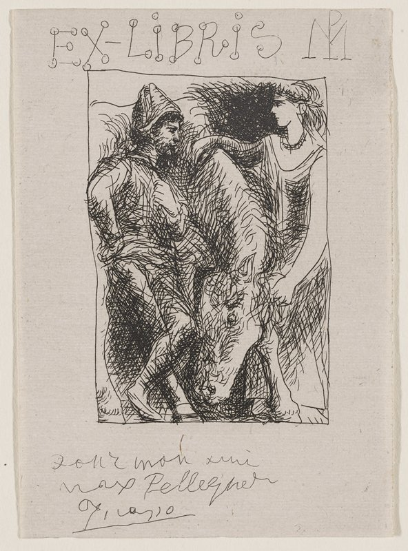 horse at center grazing; female figure at R with arm over horse's mane and PL hand on its head, looking across horse at male figure dressed as acrobat who is leaning against the horse looking back; Ex Libris written across top