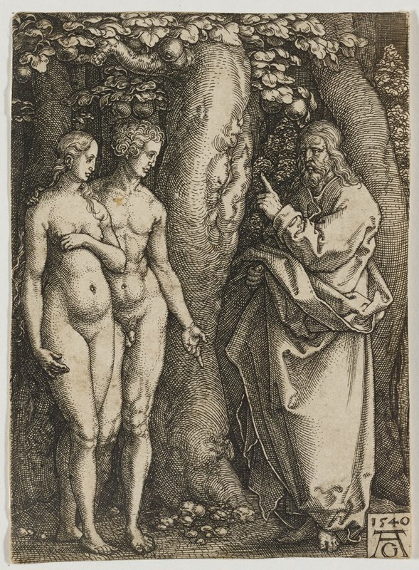 Adam and Eve at L standing under a fruit tree; robed figure at R with a beard holds up PL hand, addressing the couple