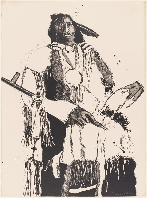 standing Native American man with a feather in his hair, wearing a large medallion, holding a pipe across his PR arm; slightly abstracted