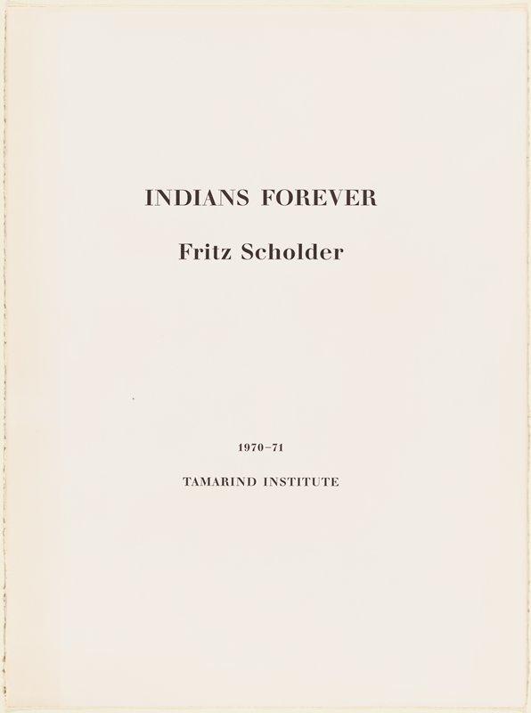 "printed page: ""INDIANS FOREVER / Fritz Scholder / 1970-71 / TAMARIND INSTITUTE]"