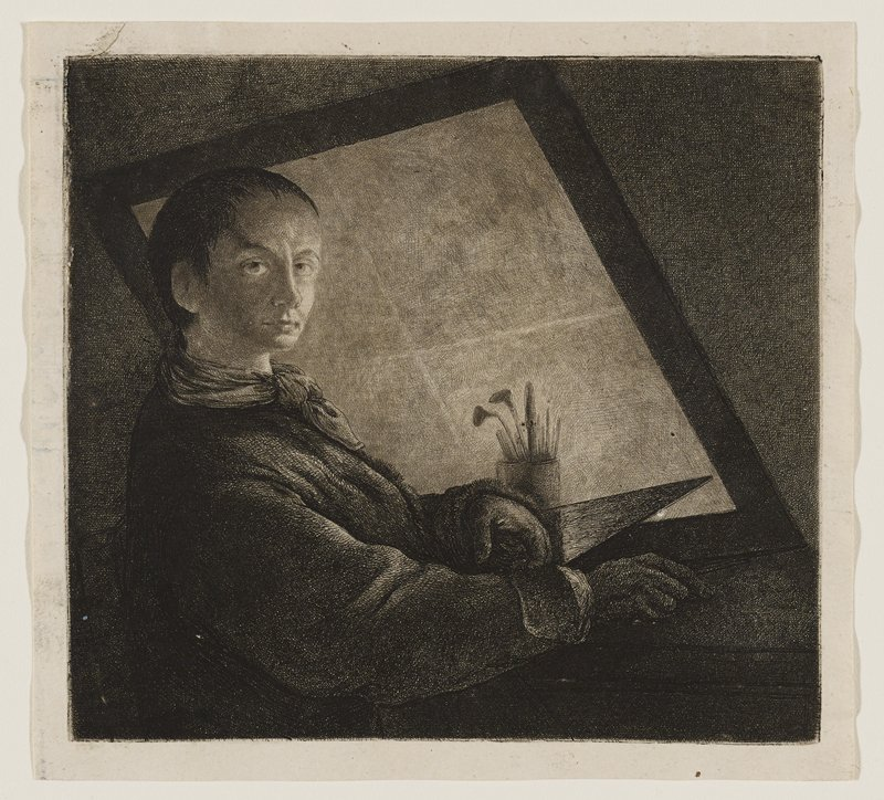 3/4 view of male figure with large eyes and short hair gazing toward viewer; man is seated next to a worktable in a darkened room, holding a copper plate; screen leaning on table, and a container of printmaking tools is nearby