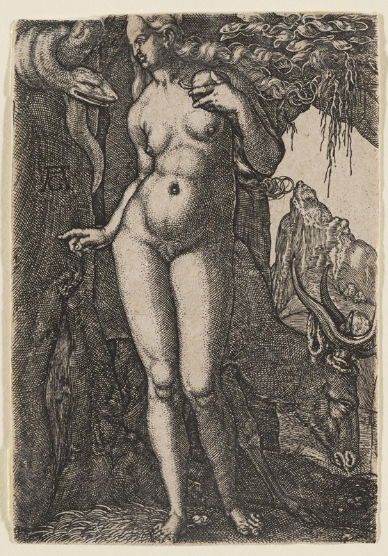 nude Eve holding a piece of fruit near PL shoulder; looking toward a snake in ULC; grazing stag in back