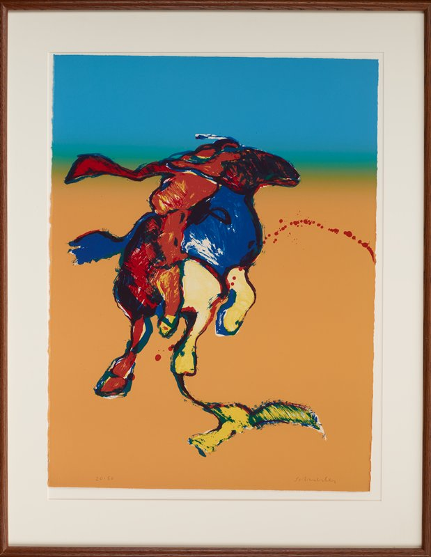 stylized image of horse and rider in bright colors; background is orange at bottom fading into blue at top with green tones between; horse is red, blue and yellow, with a primarily yellow shadow; rider is primarily red with some yellow; red splattery spots in an arc from middle of right edge through horse's chest and between its PR legs