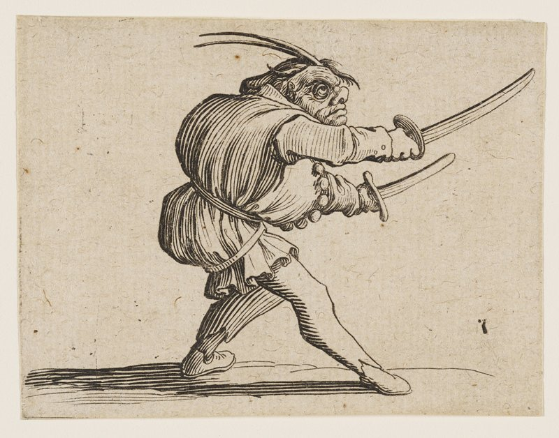hunchback with upturned nose, and long feathers on top of head in fencing pose, facing R with two short swords in his hands