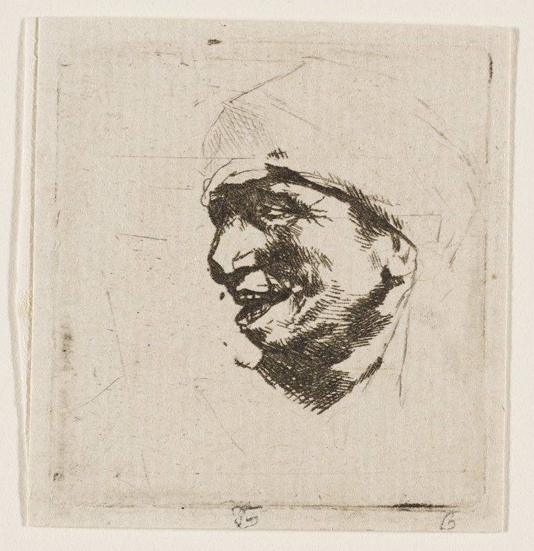 profile of male figure with large nose, wide, open smile, looking to L; sketchy hat and neck