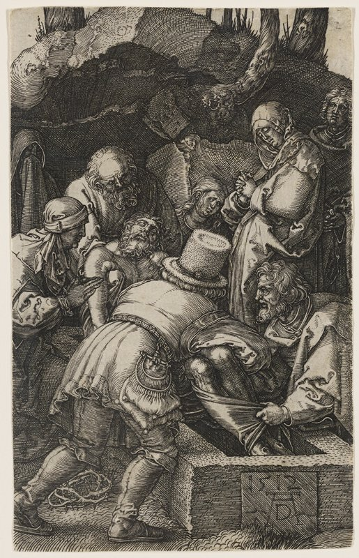 four figures in Renaissance-era clothing lowering a dead body into a grave; two women at R, one looks outward, and the other one prays; another man stands to the far R; crown of thorns LLC, and opening to cave in background