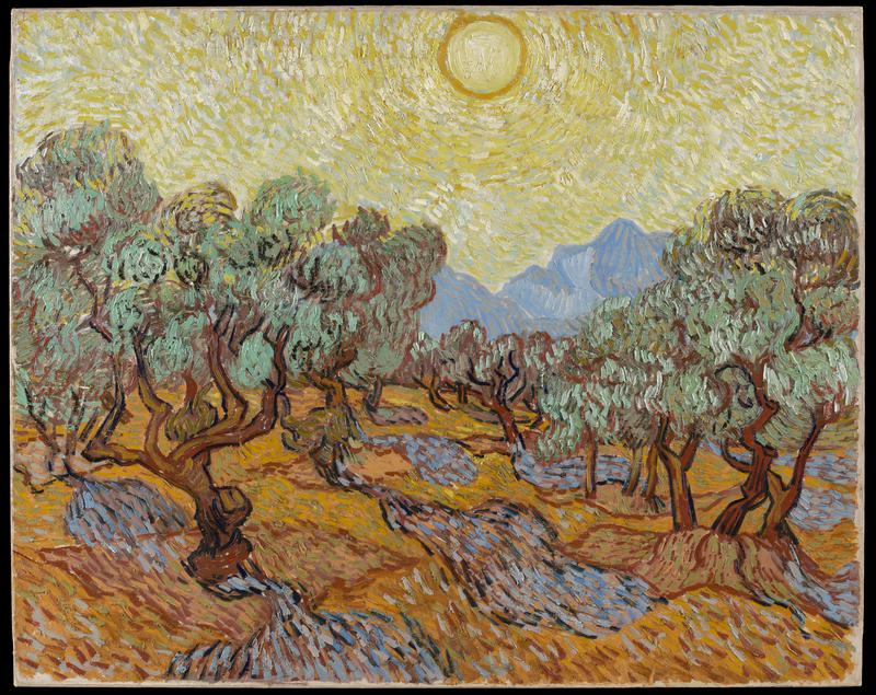 Landscape of grove of olive trees and their cast shadows in foreground, mountain looms in background, intense sun and dazzling light dominates the sky. No signature.