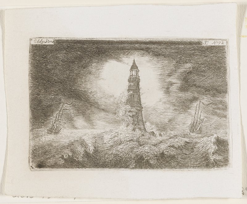 lighthouse at center, battered by the waves of a violent sea; ship on each side of lighthouse, swaying in waves