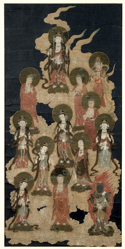 framed: thirteen Bodhisattvas standing on lotus blossoms within a cloud; each is dressed differently, and is standing in a different pose, looking in a different direction; figure at top has a sword in PR hand; figure at LR is surrounded by flame, and holding a sword and a rope; black background; metallic halos