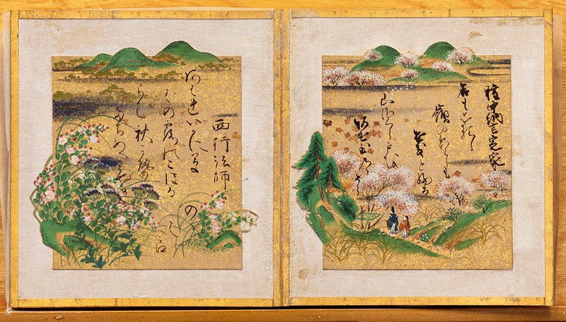 album with six colorful paintings with poems; image of blossoming tree with river; blossoming trees with hikers amid hills; blooming flowers; flowers amid thatched rooves; grasses blowing in wind with geese; autumn red maple leaves; images extend borders