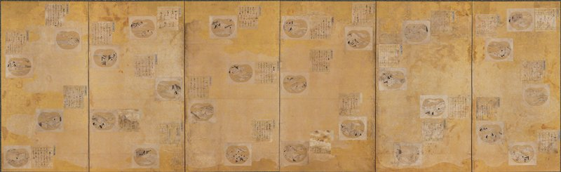 small sheets of paper (shishiki) decorated with calligraphy or illustrated scenes from Genji dispersed over panels of gold foil; 108 total; calligraphy is written by various courtiers whose names are inscribed on small slips of paper next to the shishiki