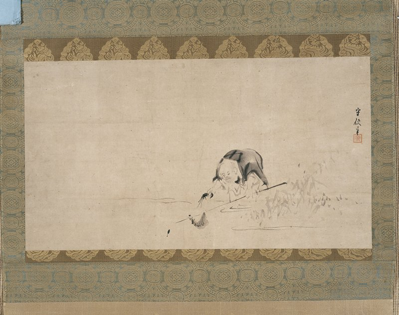monk figure wading through reeds, catching a shrimp on a rod; holding a shrimp in his PR hand