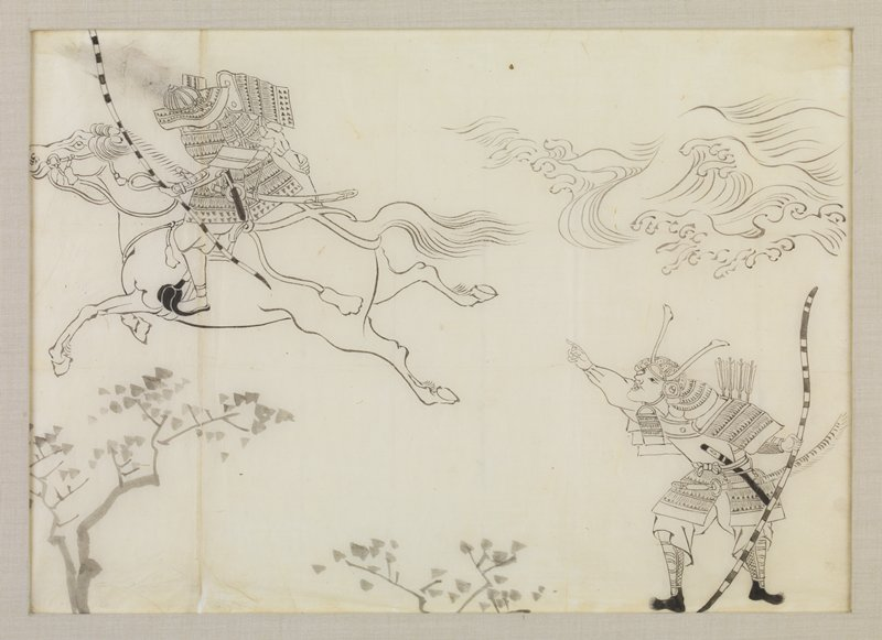 samurai holding a longbow at lower R pointing upward to another samurai figure riding a horse that is leaping into the air at UL; figure on horse is also holding a longbow and an arrow; fingerlike waves at UR; treetops at LL