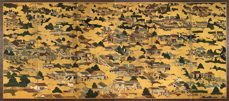 "scenes in and around Kyoto showing foreign visitors, some with ""Christian"" symbols; some of the figures in ""western"" dress are probably Japanese; other ambiguously clad figures in foreground may be Koreans; famous sites identified by labels; ornate clouds of embossed gold-leaf decorate all panels and are integral visual element of landscape"
