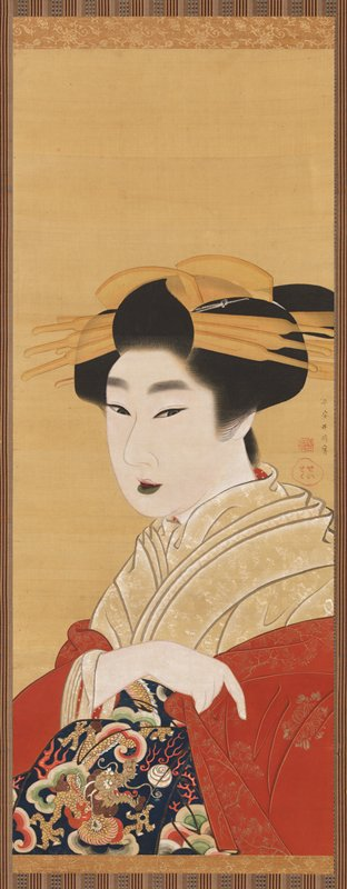 3/4 portrait of a young woman gazing outward, with her eyes slightly crossed; thick layered, beige and white kimono; she is loosely clutching a red brocaded cloak just below shoulders, with index finger pointing downward; richly decorated navy obi with dragon and flaming pearl