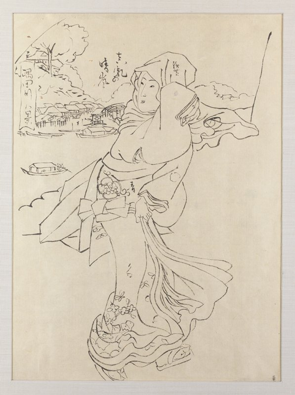 framed: outline preparatory drawing of a woman clutching kimono skirts against wind; woman is walking with body in slight curve, with upper body turned toward L; riverbank with boats and a village in background