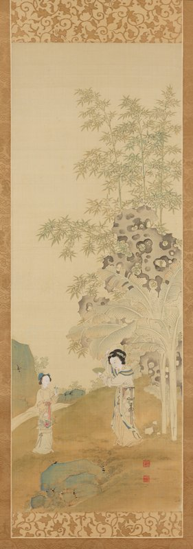 two women in garden; woman at L is holding a basket with flowers, holding one of the flowers up toward woman at R who holds out a green bowl and pulls on a banana leaf plant above her head; towering scholar's rock at R with holes at R and bamboo
