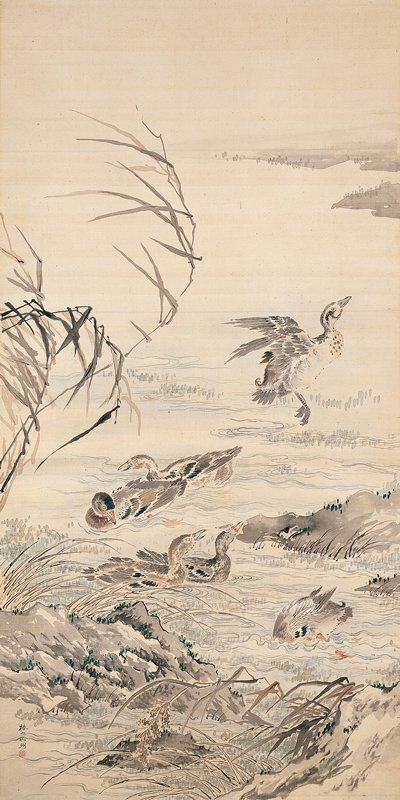 colorful image of ducks swimming in pairs, young and old; one duck is flying away at R; rocks with grasses along bottom of image; cluster of reeds at L