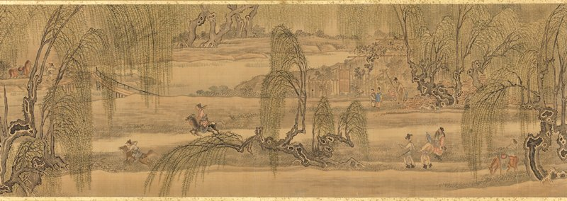 men with horses in scene framed by willow trees, with calm shoreline at L and R sides, small pavilion covered with vines, and high-walled building; inscription panel at far R
