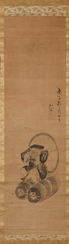 rotund figure seated straddling two large rice barrels; carries a large sack over shoulder; black robes; huge earlobes