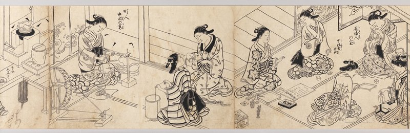 depicts women's customs in early 18th century Japan; from imperial and samurai women to courtesans and women of the merchant and peasant class; each shown in a group scene at their various occupations including reading, sewing, making fans, spinning, and farming