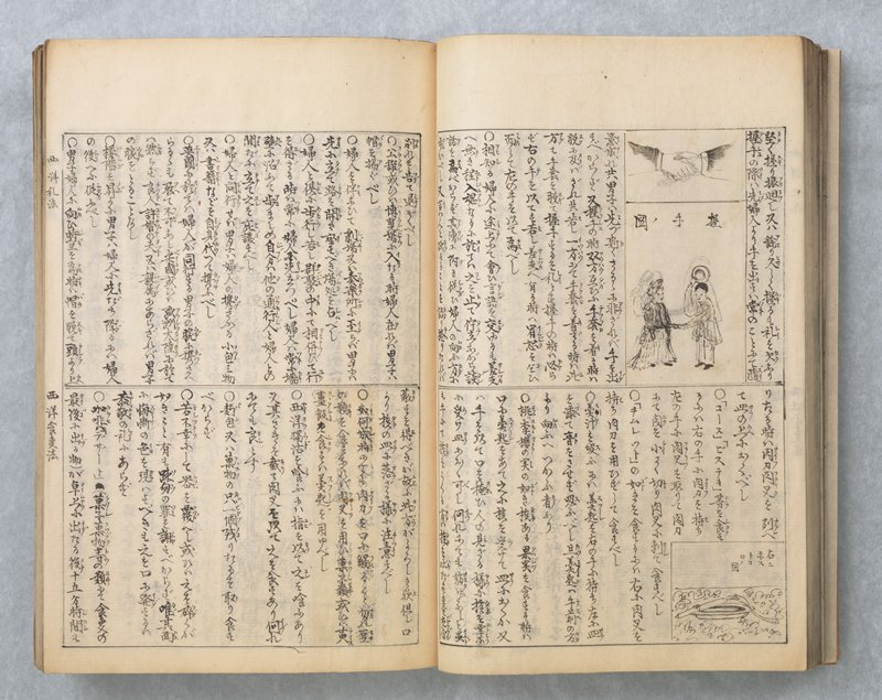 string-bound manuscript with light brown cover; contains images of Western material culture with description written in English and translated into Japanese; details regarding objects and/or customs written in Japanese; opens with counters in numerals and Japanese; contains descriptions of food, games, and other ephemera such as lamps, furniture, architectural features, and tools; also contains lengthy descriptions in Japanese of foreign customs and methods of entertainment, farming etc.