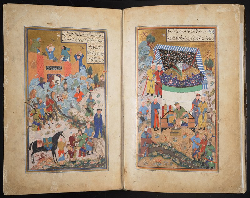 Manuscript of the Baharistan, confronting illuminated pages and double frontispiece miniature. The Beharistan by Jami; Manuscript by Mir Husain Al Husaini the year 908 of Hijra Miniature, double fonts, Executed in Bukhara for the Sultan Abu'l-Ghazi 'Abdu'l-'Aziz Behadur Miniature is signed Mahmud al-Mudhahhib (in Fehzadian Tradition) Binding is made in Half size mold, inside paper is filigree Identification by Attinghausen-March 1957. (Fine Quality)
