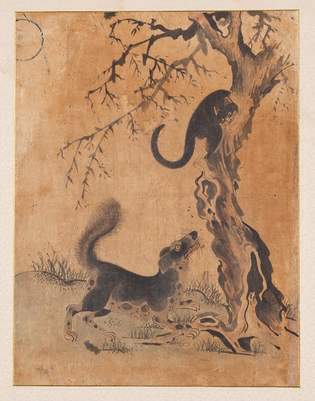 framed: dog lunging with eyes wide and tail raised, toward a cat climbing a tree at R; tree trunk is gnarled; cat is near top of tree trunk with mouth open, staring at dog