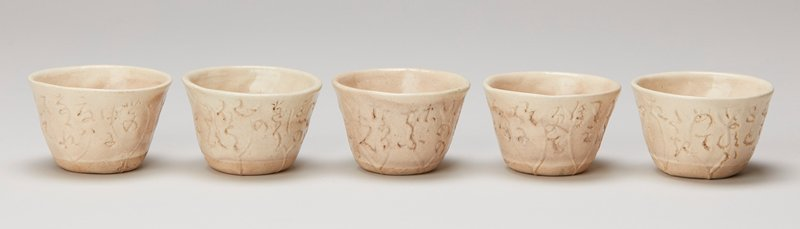white clay stoneware cups in lotus leaf shape each with signed and inscribed poem made for sencha in box signed by artist