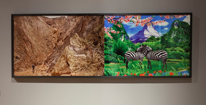 two images printed in color on one sheet; left image: view inside a crevice in a rocky landscape; young black man in LLQ carrying a large bundle behind his neck, with a child behind him; other figures in the far distance at top center, with many stacks of bundles; right image: intensely-colored image of two zebras in foreground facing one another, each with their heads resting on the other's upper back; snow-covered mountain peak at center background; red flowers in foreground; tree branches with pink flowers at top