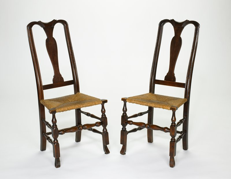 Chair with Spanish feet, wood with rush seat,(maple or beech?) Purchase 1914 The Dunwoody Fund; repurchased 1929 by Mrs. C.C. Bovey and given for the Josephine Koon Room