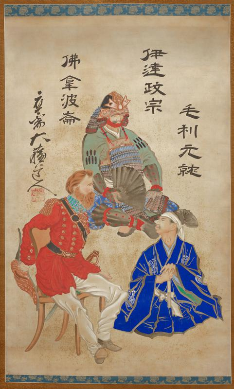 left scroll of a pair; three men (clockwise from top center): Japanese man wearing partial suit of armor and helmet, seated on floor, holding a black fan and wearing a garment on his upper body with green sleeves; Asian man in LRC wearing a bright blue robe with white organic medallions and white belt, black cloth wrapped around his hair and white headband, holding a folded white fan and seated on floor; European man with red hair and thick red beard at left wearing a long red uniform jacket with brass buttons and epaulettes, and white baggy pants, seated in an orange chair; four bold lines of text in black at top around figures; large square red seal above PR shoulder of European man
