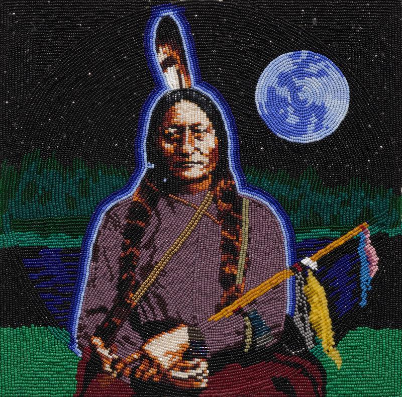 3/4 length portrait of a Native American man with his hands folded in his lap; landscape behind man with moon in UR corner